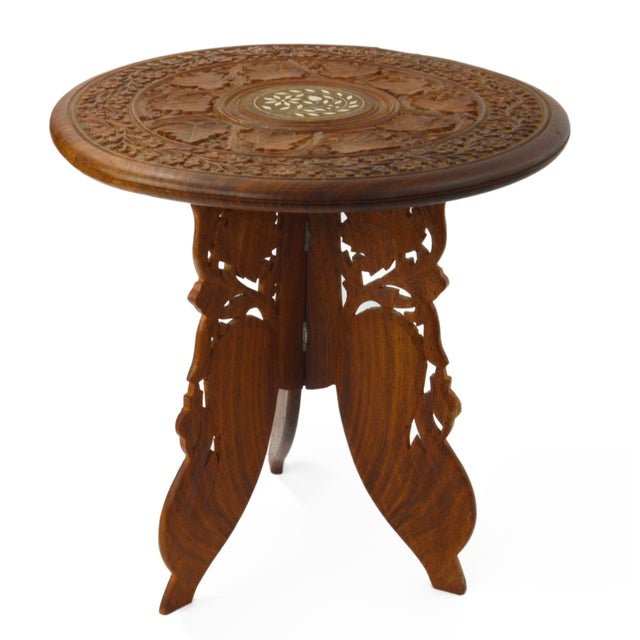 Table Indian Hand Carved and Inlaid Side Table - Image 1 of 5