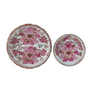 Gold Imari Porcelain Ashtrays - Pair