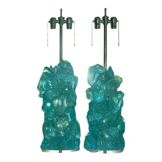 Rock Candy Glass Lamps In Aqua