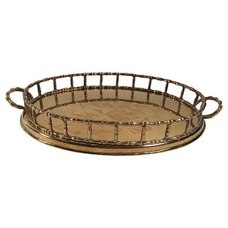 Oval Brass Bamboo Rail Tray