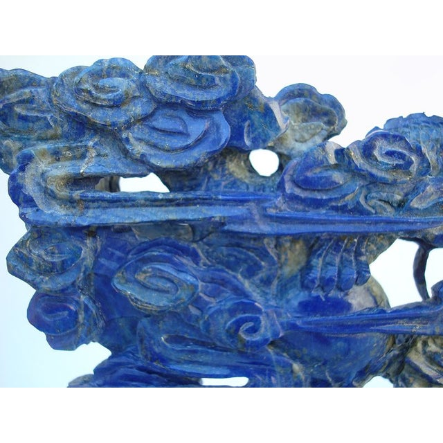 3-D Carved Lapis Asian Dragons Statue - Image 6 of 6
