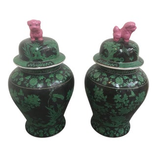 Green & Black Foo Dog Ginger Jars - Pair
