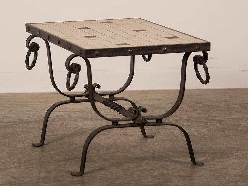 French Art Deco Period Iron Base And Tile Top Coffee Table, Circa 1930    Image