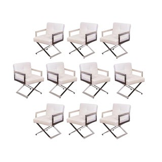 10 Milo Baughman Style Chrome Dining Chairs