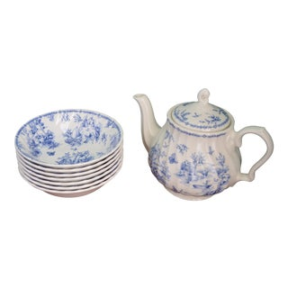 Blue & White Toile Teapot & Bowls - Set of 8