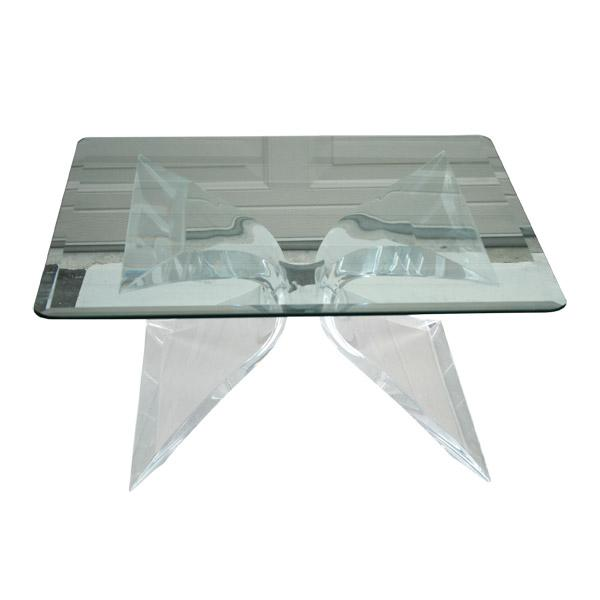 Image of Lion in Frost Lucite & Glass Coffee Table