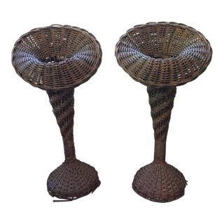 Antique Wicker Florist Vases - a Pair