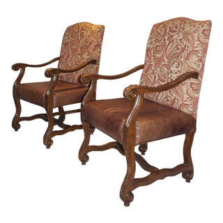 Carved Leather Seat Arm Chairs - A Pair
