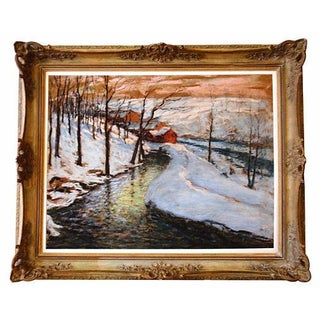 Fred Wagner Winter Landscape Painting, C.1910