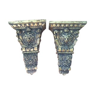 Gold Lion Head Sconces/ Wall Brackets - Pair