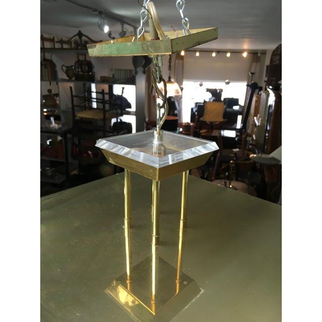 Fredrick Ramond Post Modern Square Brass & Glass Chandelier - Image 11 of 11
