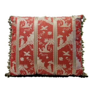 Red Silk Chinoiserie Pillow