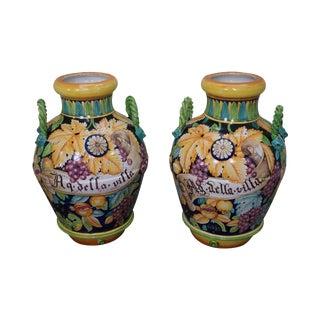 Italian Pottery Majolica Urns - a Pair