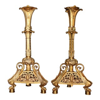 Egyptian Bronze Gold Decorative Candle Sticks - a Pair