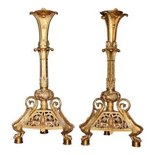 Egyptian Bronze Gold Decorative Candle Sticks - a Pair