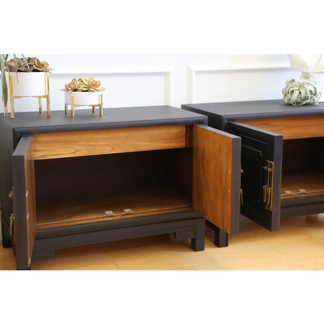 Mid Century Modern Black Nightstands - A Pair - Image 8 of 8