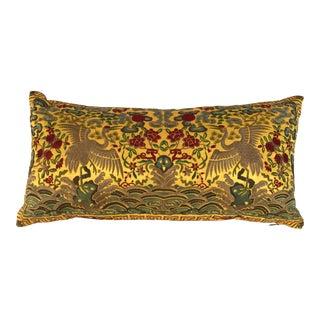 Chinoiserie Gold Silk Crane Boudoir Pillow