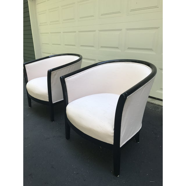 Blush Club Chairs With Black Lacquer Frame - Ward Bennett Style - a Pair - Image 6 of 10
