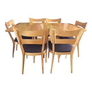 1950's Heywood Wakefield Dining Table With 6 Dog Bone Chairs in Champagne Color