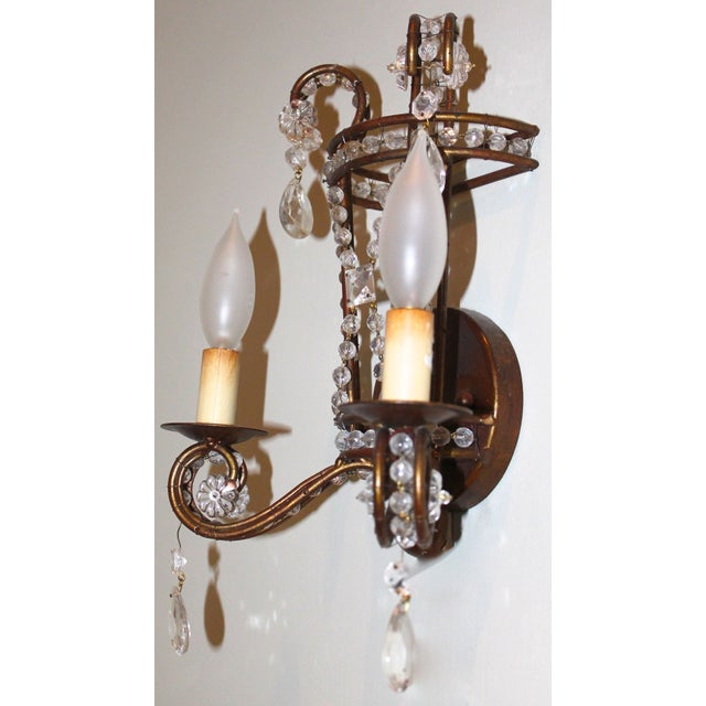 French Iron Wall Sconces : Gilt French Iron & Crystal Wall Sconces - A Pair Chairish