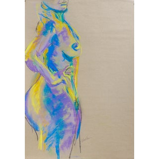 Day Glow Nude Pastel & Charcoal Drawing