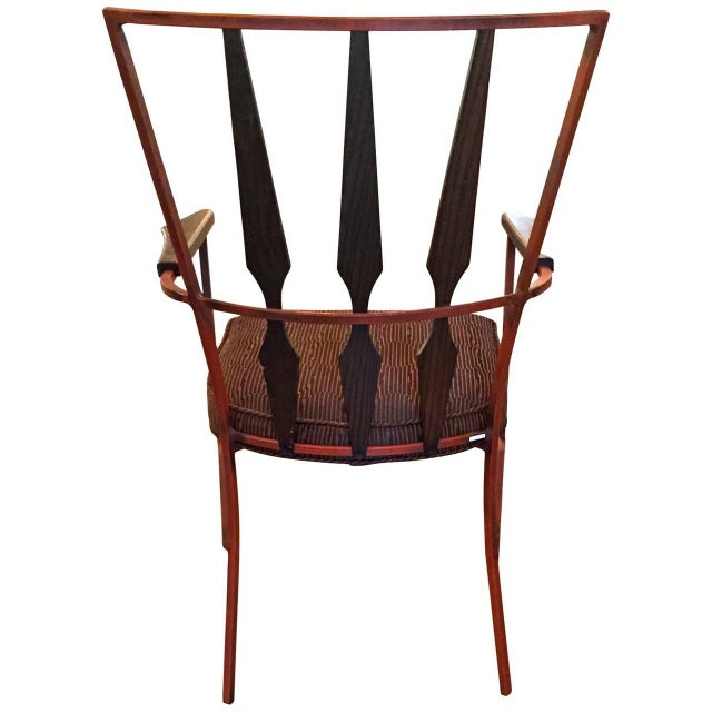 Set of Four Enameled Steel and Walnut Armchairs in the Manner of Salterini - Image 3 of 4