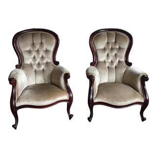 Vintage Tufted Velvet Upholstered Side Chairs - A Pair