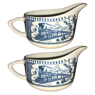 Currier & Ives Blue Creamers by Royal China - Pair