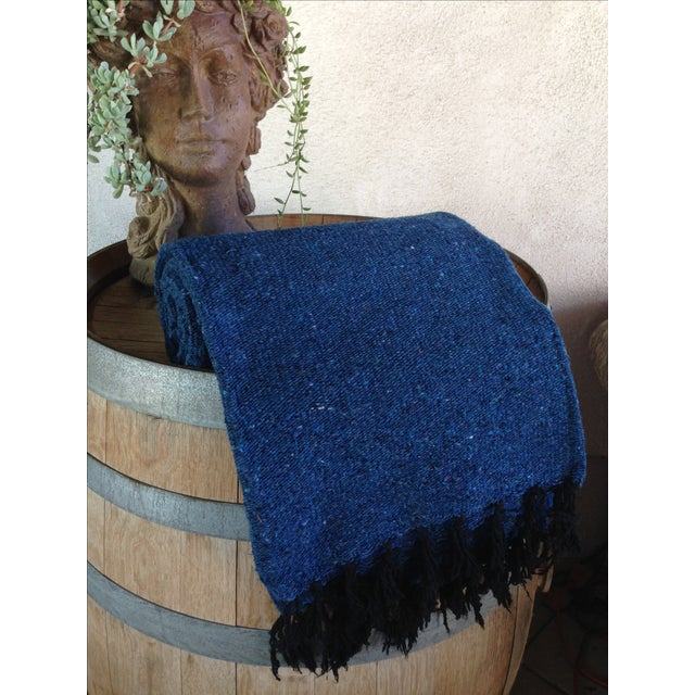 Mexican Boho Navy Yoga Beach Blanket - Image 3 of 5