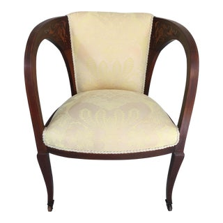 Art Nouveau Fruitwood & Mother of Pearl Inlay Chair