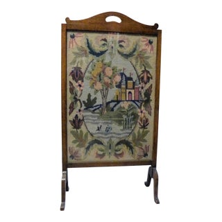 Antique Wooden Fireplace Screen With Needlepoint Scenery