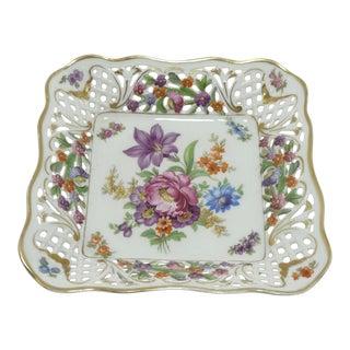 Vintage Schumann Floral Bouquet Porcelain Square Bon Bon Dish