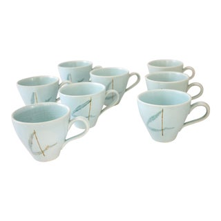 "Russel Wright ""Grass"" Pattern Teacups - S/8"