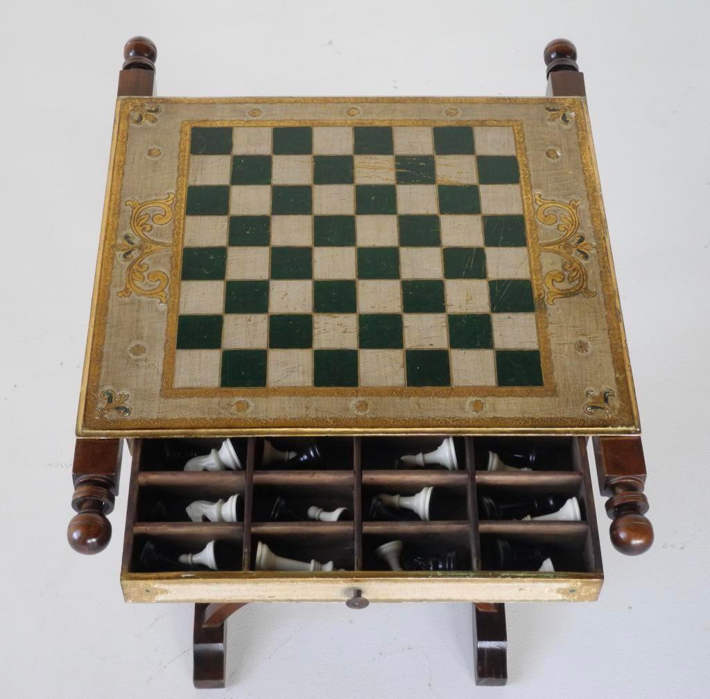 Savonarola Chairs U0026 Slatted Folding Table With Chess Board   Set Of 3    Image 5