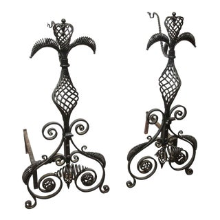 Hand Wrought Andirons - A Pair