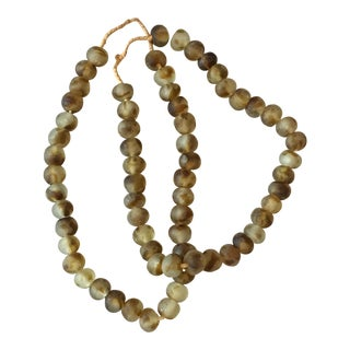 African Tortoise Glass Trade Beads - Pair