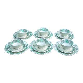 German Teacup, Saucer & Dessert Plate Service- 18 Pieces