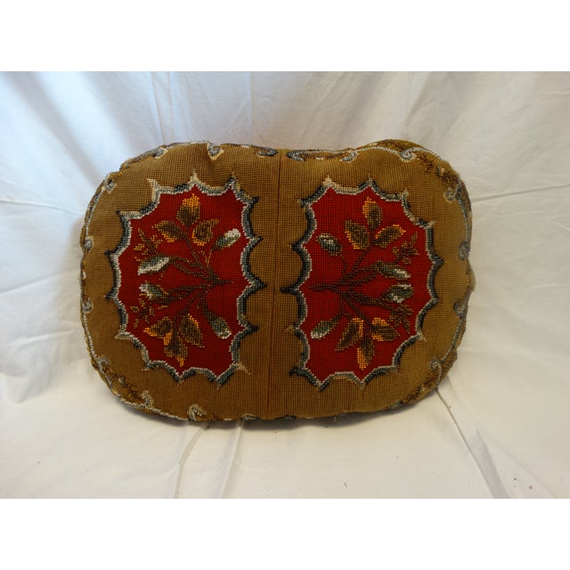 Antique Beaded Needlepoint Pillow - Image 2 of 3