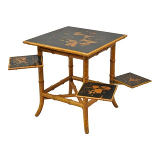 Chinese Chippendale Faux Bamboo Side Table