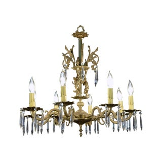 Cast Brass and Crystal Figural Chandelier C. 1920s