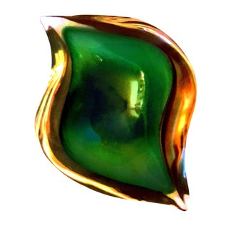 Large Murano Vintage Eye Shaped Green and Amber Sommerso Geode Bowl by Seguso