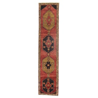 "Vintage Turkish Hand-Knotted Rug - 2'5"" x 10'10"""