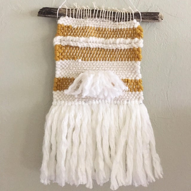 White & Mustard Yarn Weaving - Image 2 of 4