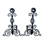 Image of Hand-Forged 1930s Fireplace Andirons - A Pair