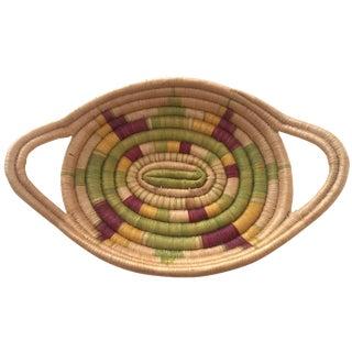 Vintage African Zulu Multicolor Handle Basket