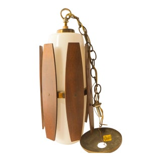 Mid Century Modern Teak and Glass Pendant Lamp