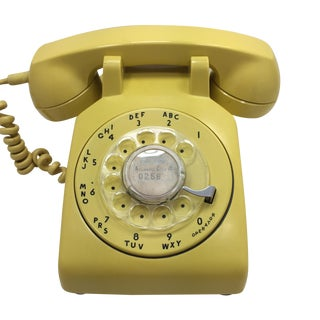 Western Electric Yellow Rotary Dial Telephone