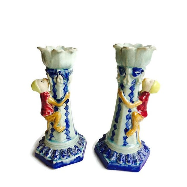 Vintage Ceramic Monkey Votive Candlesticks- A Pair - Image 3 of 6