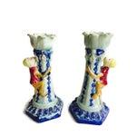 Image of Vintage Ceramic Monkey Votive Candlesticks- A Pair