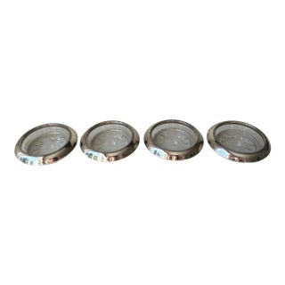 Vintage Silver and Glass Coasters - Set of 4